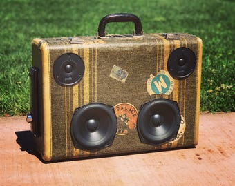 Bluetooth Portable Speaker Wireless Rechargeable Vintage Suitcase Boombox