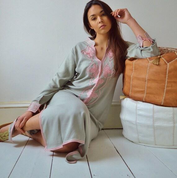 Grey with Baby Pink Moroccan Caftan Kaftan Aisha-loungewear,resortwear,robe, great for birthdays, Hon, Ramadan, Eid