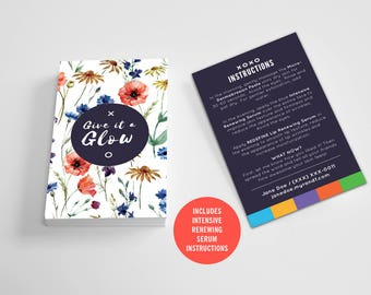 Rodan and Fields / Mini Facial Cards / Floral / Custom / Give it a Glow / Love Your Skin / Instructions / Solid Color / Digital / Printable