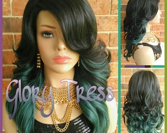 READY To SHIP// Loose Curly Full Wig, Ombre Teal Green Wig, Dark Rooted Wig, Lace Part Wig //SPIRITUAL ( Free Shipping )