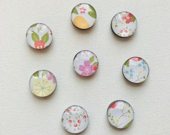 Floral Decorative Magnets--Set of 8