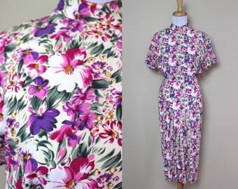 Pink Floral Fitted Dress / Vintage Mock Neck Dress
