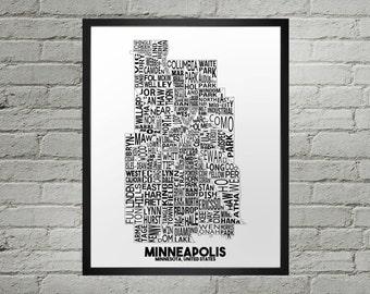 Minneapolis Minnesota Neighborhood Typography City Map Print