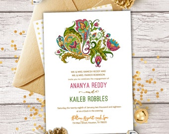 Diwali party invite etsy the gucha collection jewel tone paisley invitation for engagement save the date henna stopboris Gallery
