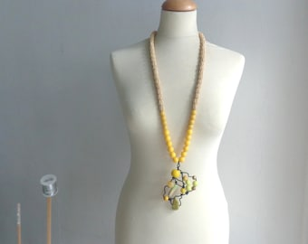 Yellow statement necklace long necklace wire necklace