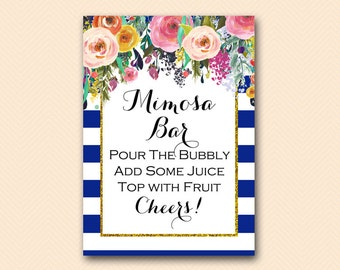 Mimosa Bar Sign, Blue, Navy Mimosa Sign, Bubbly Bar, Bridal Shower Sign, Wedding Sign BS404 TLC404
