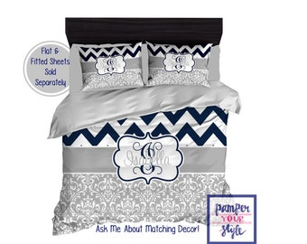 Dorm Room Monogrammed Bedding - Initial Bedding - Monogrammed Bedspread - Personalized Duvet Cover - Navy Blue and Gray Bedroom Decor