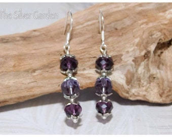 Amethyst Crystal Earrings, Silver Earrings, Purple Earrings, Drop Earrings, Mothers Day, Gift For Her, Purple Jewellery, Stocking Filler