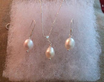Sterling Silver Pearl Necklace & Earring Set Freshwater Pearl