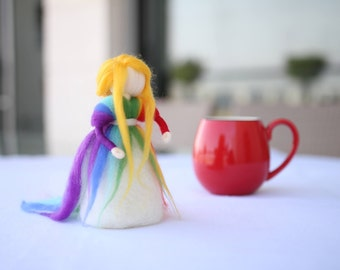 Rainbow decor, Girl nursery decor, Rainbow doll, Rainbow room, Needle Felted, Rainbow nursery, Waldorf inspired, Nursery decor, Rainbow felt