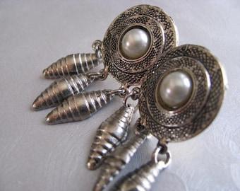Native Look Earrings - Silver Post Pearl Earrings - Silver Etched Earrings