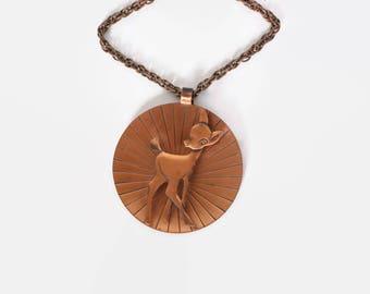 Vintage 70s BAMBI NECKLACE / 1970s Copper Deer Medallion Chain Necklace