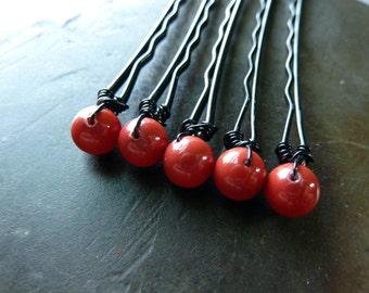 6mm Red Swarovski Pearl Bobby Pins - Set of 5