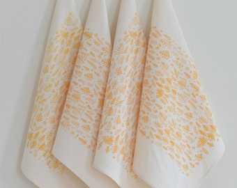 Cloth Napkins - Organic Cotton - Fern Print - Set of 4 - Eco Friendly - Screen Printed - Table Setting - Woodland Design - Organic Napkins