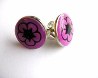 Purple Flower Stud Earrings ... SALE ... CLEARANCE ... Purple Flower Post, Hawaiian Flower Earrings, Cute Studs, Cute Post Set