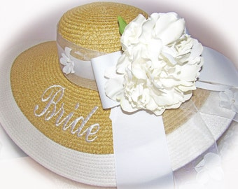 Monogrammed Natural & White Floppy Hat  Bride, Gorgeous, Bridal Shower, Bridal Party, Honeymoon or Bridesmaids, Sunbonnet, Derby, Cup Race