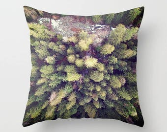 Throw Pillow Case, Aerial Photograph, Treescape, Wilderness, River, Rustic Home Decor, Nature Photography by RDelean Designs