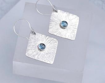 Blue Topaz Earrings, Topaz Jewelry, Textured Square Silver Earrings & Topaz, December Birthstone Topaz Blue Earrings, Topaz Gift For Her