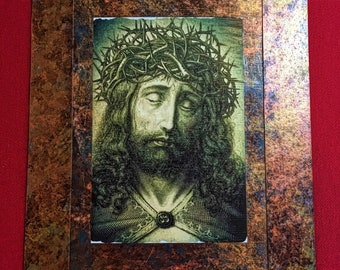 Jesus Christ Lamb of God Receive Our Prayer Inspirational Devotional one of a kind 7.5x11 inches Beautiful Art.