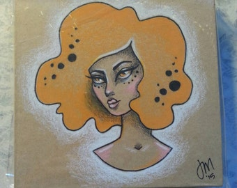 Original,  One of a kind colored pencil and ink drawing on recycled notepad holder/note box