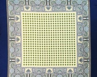 Blue Green Patterned Silk Pocket Square