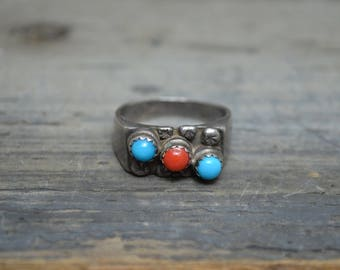 Old Pawn Coral Turquoise Men's Ring - Size 12