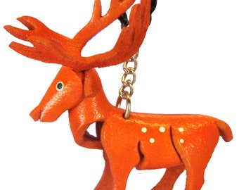Truck Accessories - Car Mirror Jewelry - Leather Deer Charm - Hunters Gift - Hanging Necklace Charm Figurines For Auto - Figurine Gift #7323