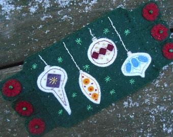 Ornament fiber art, snow, Embroidery Art,  drink coaster, Handmade Penny Rug, holiday Decor