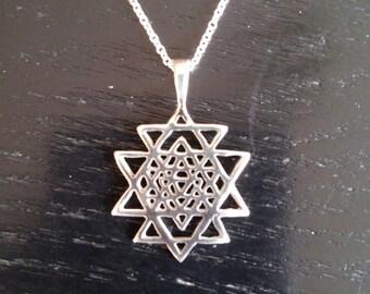 Sri Yantra pendant in sterling silver - sacred geometry