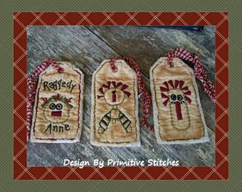 Raggedy Tag Collection-Primitive Stitchery  E-PATTERN by Primitive Stitches-Instant Download