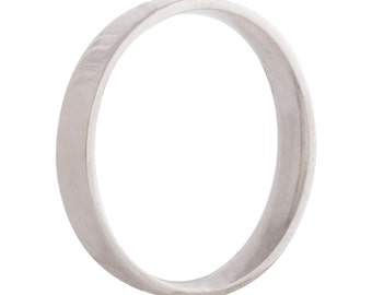 Wedding flat ring/band 3mm 9ct white gold