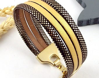 Gold and black clasp leather bracelet tutorial Kit flashed gold