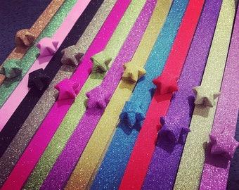 muticolor mix glitter mini origami stars