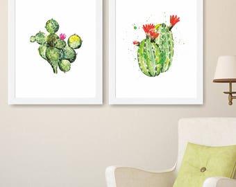 Cactus Watercolor Prints, Cactus Art, Green Art, Kitchen print, Home Wall Decor, Cactus Poster, Watercolor Botanical Print