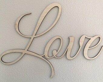 "Love: Custom 18"" x 24"" Laser Cut ""Love"" Wall Art Sign, 1/4"" Natural Baltic Birch"
