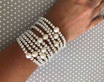 Gold filled beaded Pearl bracelet