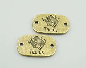 5pcs 17x28mm Antique Bronze Taurus Charm Pendant Zodiac Charm Pendant Taurus Connectors Constellation Pendants AC3407