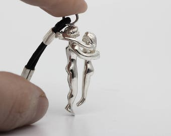 Embrace Sterling Silver Mini Sculpture Keychain