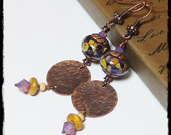 Mulberry... Handmade Jewelry Earrings Beaded Lampwork Glass Crystal Purple Lavender Plum Amber Caramel Antique Hammered Copper Long Boho