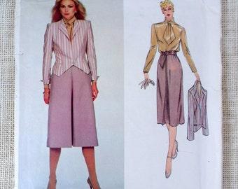 Vogue American Designer 2365 Bill Kaiserman 1980s vintage suit blazer jacket skirt Sewing pattern Tie neck New Wave Uncut