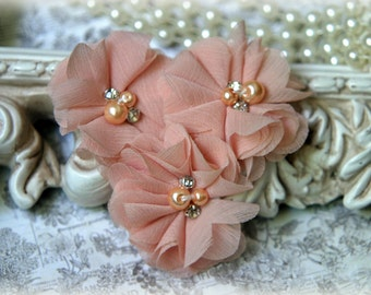 Tan  Chiffon Flowers with Pearls and Rhinestone Center, for Headbands, Clothing, Sashes, Crafting, Set of 3, approx. 2 inches across, FL-172