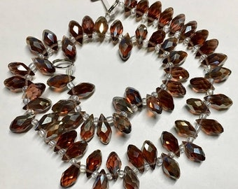 ON SALE Dark Topaz Faceted Transparent Crystal Briolette Drop Teardrop Beads 6x12mm 13 Inch Strand