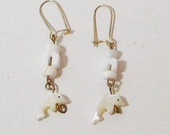 Long Dangling Shell Dolphin Earrings Fetish Fish Mother of Pearl Never Worn Vintage 70s Costume Jewelry
