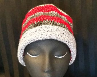 Really Red, Grey Heather, and Black Tones stripped Beanie