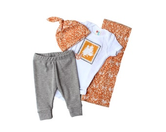 Cute baby stuff for boys - Hospital outfit for baby boy - Baby gift set - Burp cloth, Onesie, leggings and top knot hat - Orange tribal