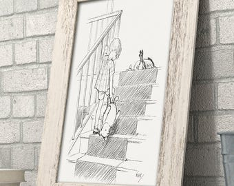 Stairs - Winnie the Pooh 11x14 Unframed Nursery Art Print