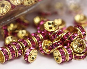 24 Rose Swarovski Rondelle Beads 5mm D027 Y273