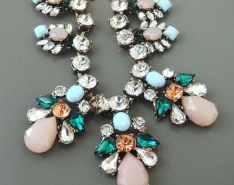 Vintage Inspired Necklace - Crystal Necklace - Pink Blue Green Necklace - Antiqued Gold Necklace - Bib Necklace - Bridal Necklace - Handmade