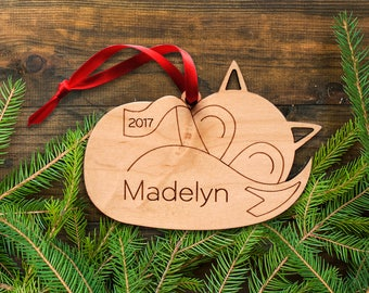 Woodland Animal Ornament: Sleeping Baby Fox Personalized Name, Boy or Girl, Baby's First Christmas 2018, Kids