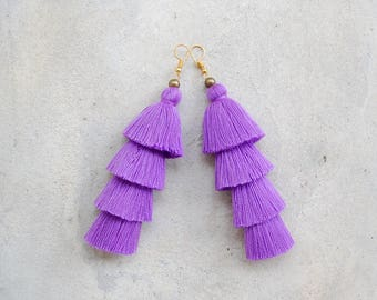 Light Purple Four Tier Handmade Tassel Earrings